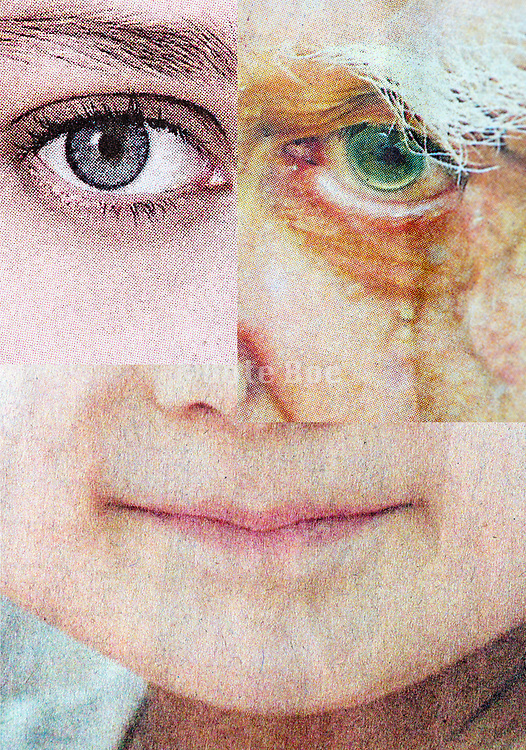 various ages collaged face composite