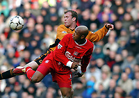 Fotball<br /> Liverpool v Wolves<br /> 29. mars 2004<br /> Foto: Digitalsport<br /> Norway Only<br /> El Hadji Diouf, Liverpool, Mark Clyde, Wolves