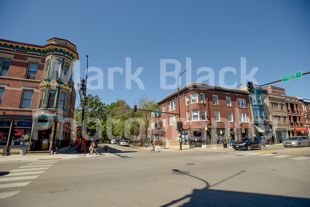 The intersection of Roscoe and Halsted Streets in Chicago's Boystown on Friday, Sept. 4, 2020. Photo by Mark Black