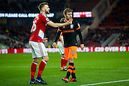 Middlesbrough defender, on loan from Arsenal, Calum Chambers (25)  and Sheffield Wednesday forward, on loan from West Bromwich Albion, Callum McManaman (10)  during the The FA Cup match between Middlesbrough and Sheffield Wednesday at the Riverside Stadium, Middlesbrough, England on 8 January 2017. Photo by Simon Davies.