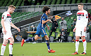 Mohamed Elneny of Arsenal celebrates the second goal during the Europa League Group B match between Dundalk and Arsenal at Aviva Stadium, Dublin, Republic of Ireland on 10 December 2020.