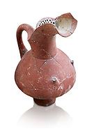 Hittite spouted pitcher with strainer, Hittite capital Hattusa, Hittite  Middle  Kingdom 1650-1450 BC, Bogazkale archaeological Museum, Turkey. White  background