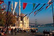 TURKEY, BOSPHORUS Ortakoy; village mosque and bridge