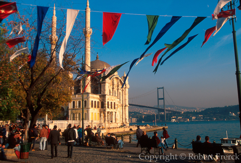 TURKEY, BOSPHORUS Ortakoy; village mosque and bridge