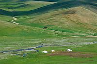 Mongolie, Province de Ovorkhangai, campement de yourt// Mongolia, Ovorkhangai province, yourt camp