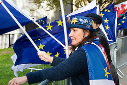 A pro-EU campaigner watches broadcasters on College Green, opposite the Houses of Parliament. London, January 14 2019.