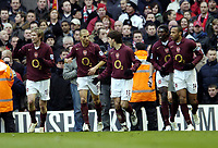 Photo: Olly Greenwood.<br />Arsenal v Liverpool. The Barclays Premiership. 12/03/2006. Arsenal celebrate Thierry Henry's goal.