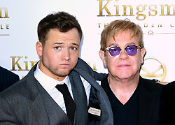 Taron Egerton and Elton John attending the World Premiere of Kingsman: The Golden Circle, at Cineworld in Leicester Square, London. Picture Date: Monday 18 September. Photo credit should read: Ian West/PA Wire