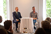 GARY TINTEROW; PABLO BRONSTEIN, Pablo Bronstein, Sketches for Regency Living. Discussion and lunch. ICA. The Mall. London. 7 June 2011. <br /> <br />  , -DO NOT ARCHIVE-© Copyright Photograph by Dafydd Jones. 248 Clapham Rd. London SW9 0PZ. Tel 0207 820 0771. www.dafjones.com.