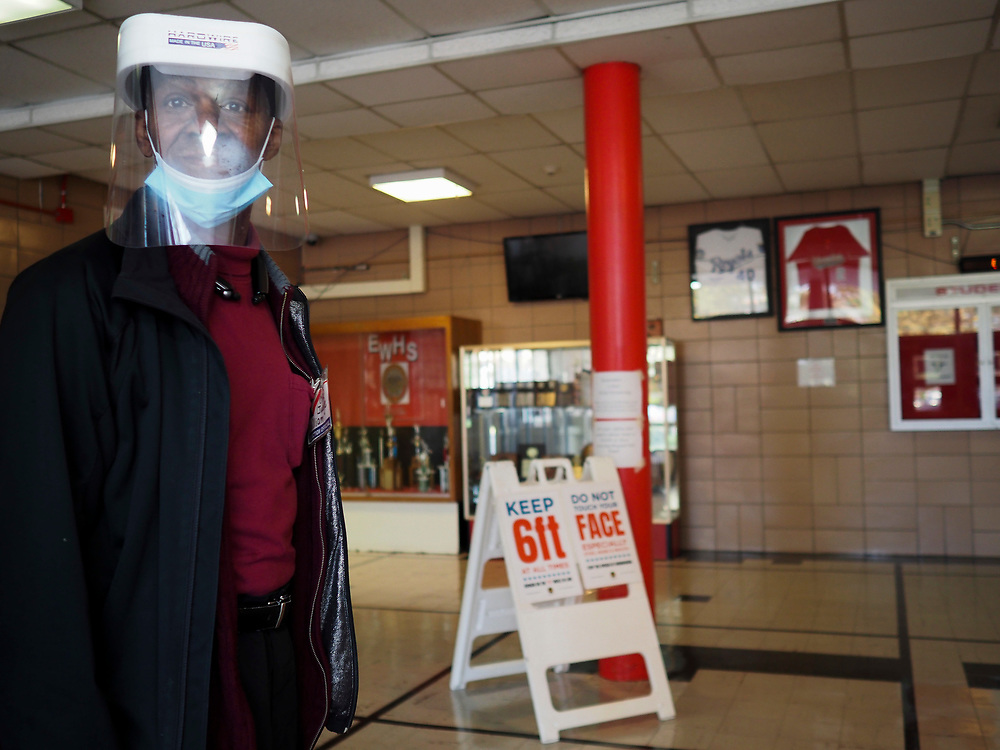 A poll watcher wears protective gear at a voting center in Baltimore, with signs in the background reminding voters to wear take precautions to guard against the spread of COVID-19. On April 28, 2020 a special election was held to fill the remainder of the term in the US House of Representatives for Maryland's 7th congressional district in the 116th U.S. Congress. Elijah Cummings, the incumbent representative, died in office on October 17, 2019.