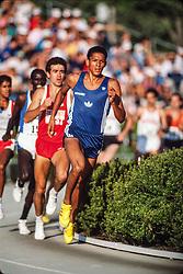 Joaquim Cruz wins Bowerman Mile in 3:56.36 over Chuck Aragon, Mike Boit at Prefontaine Classic track and field meet, Hayward Field, University of Oregon, Eugene, Oregon, USA
