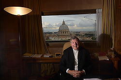 File photo - Australian Cardinal George Pell poses at his office in the San Giovanni Tower at the Vatican on October16, 2014. Cardinal George Pell has been found guilty of sexual offences in Australia, making him the highest-ranking Catholic figure to receive such a conviction. Pell abused two choir boys in the rooms of a Melbourne cathedral in 1996, a jury found. He had pleaded not guilty. The verdict was handed down in December, but it could not be reported until now due to legal reasons. Pell is due to face sentencing hearings from Wednesday. He has lodged an appeal against his conviction. Photo by Eric Vandeville /ABACAPRESS.COM