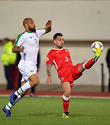 Gibraltar's Joseph Chipolina (right) and Republic of Ireland's David McGoldrick battle for the ball during the UEFA Euro 2020 Qualifying, Group D match at the Victoria Stadium, Gibraltar.