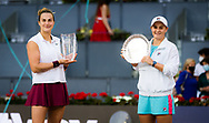 Aryna Sabalenka of Belarus and Ashleigh Barty of Australia with their trophies after the final of the Mutua Madrid Open 2021, Masters 1000 tennis tournament on May 8, 2021 at La Caja Magica in Madrid, Spain - Photo Rob Prange / Spain ProSportsImages / DPPI / ProSportsImages / DPPI