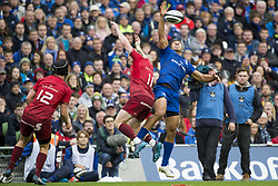 October 7, 2017 - Dublin, Ireland - Adam Byrne of Leinster jumps with Keith Earls of Munster during the warm-up during the Guinness PRO14 match between Leinster Rugby and Munster Rugby at Aviva Stadium in Dublin, Ieland on October 7, 2017  (Credit Image: © Andrew Surma/NurPhoto via ZUMA Press)