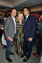 Left to right, MATT HERMER, MARISSA HERMER and  at a party hosted by Ewan Venters CEO of Fortnum & Mason to celebrate the launch of The Cook Book by Tom Parker Bowles held at Fortnum & Mason, 181 Piccadilly, London on 18th October 2016.