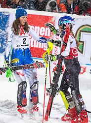 08.01.2019, Hermann Maier Weltcupstrecke, Flachau, AUT, FIS Weltcup Ski Alpin, Slalom, Damen, 2. Lauf, im Bild v.l. Petra Vlhova (SVK, 1. Platz), Mikaela Shiffrin (USA, 2. Platz) // f.l. race winner Petra Vlhova of Slovakia second placed Mikaela Shiffrin of the USA reacts after her 2nd run of ladie's Slalom of FIS ski alpine world cup at the Hermann Maier Weltcupstrecke in Flachau, Austria on 2019/01/08. EXPA Pictures © 2019, PhotoCredit: EXPA/ Johann Groder