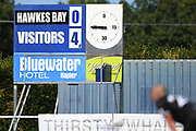 Full time score in the Handa Premiership football match, Hawke's Bay United v Auckland City FC, Bluewater Stadium, Napier, Sunday, January 31, 2021. Copyright photo: Kerry Marshall / www.photosport.nz