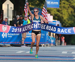 July 4, 2018 - Atlanta, GA, USA - Stephanie Bruce wins the AJC Peachtree Road Race with a time of 32:21 in the 10K race on Wednesday, July 4, 2018, in Atlanta. (Credit Image: © Curtis Compton/TNS via ZUMA Wire)
