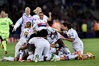 Players of Lyon celebrates the victory of the trophy during the UEFA Women's Champions League Final between Lyon Women and Paris Saint Germain Women at the Cardiff City Stadium, Cardiff, Wales on 1 June 2017. Photo by Giuseppe Maffia.<br /> <br /> <br /> Giuseppe Maffia/UK Sports Pics Ltd/Alterphotos