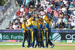 July 1, 2019 - Chester Le Street, County Durham, United Kingdom - Sri Lanka's Jeffrey Vandersay celebrates with his team mates after catching Chris Gayle off  Kasun Rajitha during the ICC Cricket World Cup 2019 match between Sri Lanka and West Indies at Emirates Riverside, Chester le Street on Monday 1st July 2019. (Credit Image: © Mi News/NurPhoto via ZUMA Press)