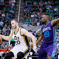 27 January 2016: Charlotte Hornets forward P.J. Hairston (19) defends on Utah Jazz forward Gordon Hayward (20) during the Utah Jazz 102-73 victory over the Charlotte Hornets, at the Vivint Smart Home Arena, Salt Lake City, Utah, USA.