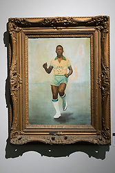© Licensed to London News Pictures. 01/06/2016. A World Cup portrait painting of Pele by artist Helena Almeida, September 7, 1958 with an estimate of £4,200-£5,600 from the Pele: The Collection with over 1,500 items of memorabilia owned by Pele for sale on later in June. London, UK. Photo credit: Ray Tang/LNP