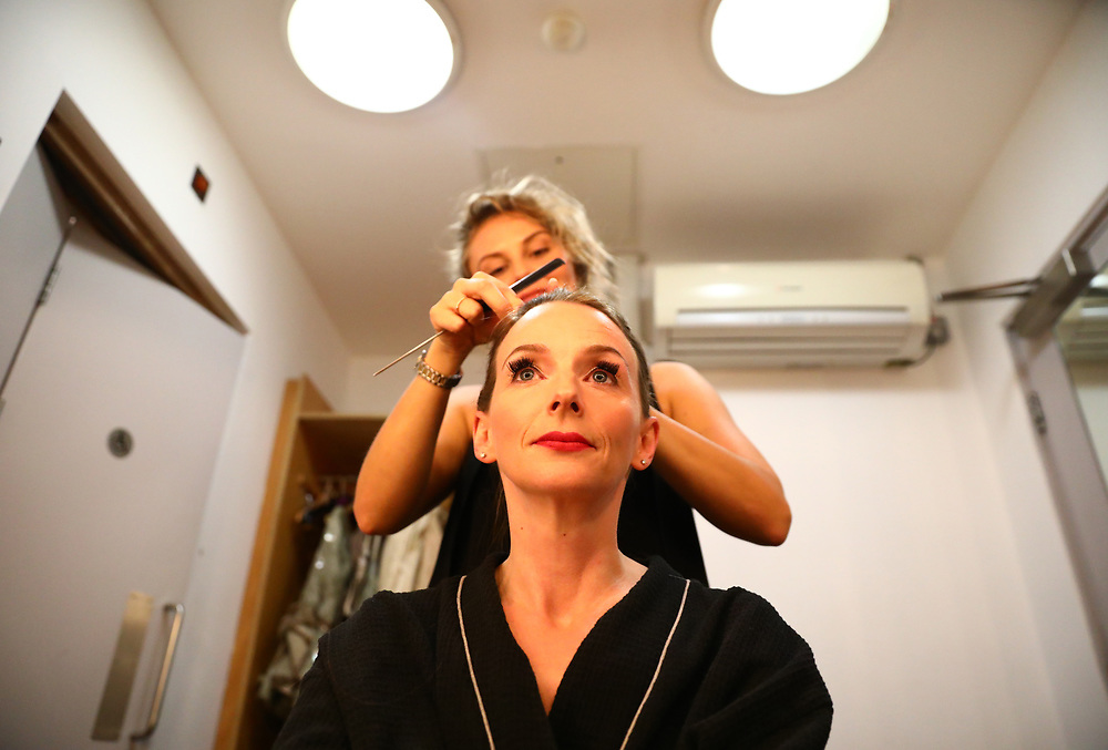 Performer Sarah Tynan is groomed before a performance of the Barber of Seville at the English National Opera in London, Britain, 30 October 2017.  English National Opera (ENO) is an opera company based in London. It is one of the two principal opera companies in London. English National Opera traces its roots back to 1931 when Lilian Baylis established the Sadler's Wells Opera Company at the newly re-opened the Sadler's Wells Theatre. Baylis had been presenting opera concerts and theatre in London since 1898 and was passionate about providing audiences with the best theatre and opera at affordable prices. ENO became the first British opera company to tour the United States, and the first major foreign opera company to tour what was then the Soviet Union.EPA-EFE/NEIL HALL