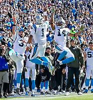 NASHVILLE, TN - NOVEMBER 15:  Derek Anderson #3,Cam Newton #1, and Joe Webb #14 of the Carolina Panthers celebrate after a touchdown against the Tennessee Titans during the first half at Nissan Stadium on November 15, 2015 in Nashville, Tennessee.  (Photo by Frederick Breedon/Getty Images)