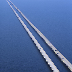 Aerial view of Lake Pontchartrain Causeway towards New Orleans, Louisiana