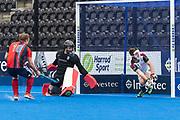 Surbiton can't keep out a Matt Guise-Brown penalty corner. Hampstead & Westminster v Surbiton - Men's Hockey League Final, Lee Valley Hockey & Tennis Centre, London, UK on 29 April 2018. Photo: Simon Parker