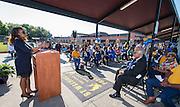 Houston ISD Trustee Rhonda Skillern-Jones comments during ground breaking ceremonies at Washington High School, April 5, 2016.