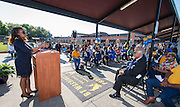 Houston ISD Trustee Rhonda Skillern-Jones comments during ground breaking ceremonies at Washington High School, April 5, 2016.
