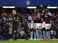 Football - 2021 / 2022 EFL Carabao League Cup - Round Three - Chelsea vs Aston Villa - Stamford Bridge - Wednesday 22nd September 2021<br /> <br /> Aston Villa players nervously wait on the final penalty which was converted by Chelsea's Reece James.<br /> <br /> COLORSPORT/Ashley Western