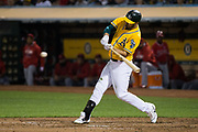 Oakland Athletics left fielder Matt Joyce (23) swings at a Los Angeles Angels pitch at Oakland Coliseum in Oakland, California, on September 5, 2017. (Stan Olszewski/Special to S.F. Examiner)