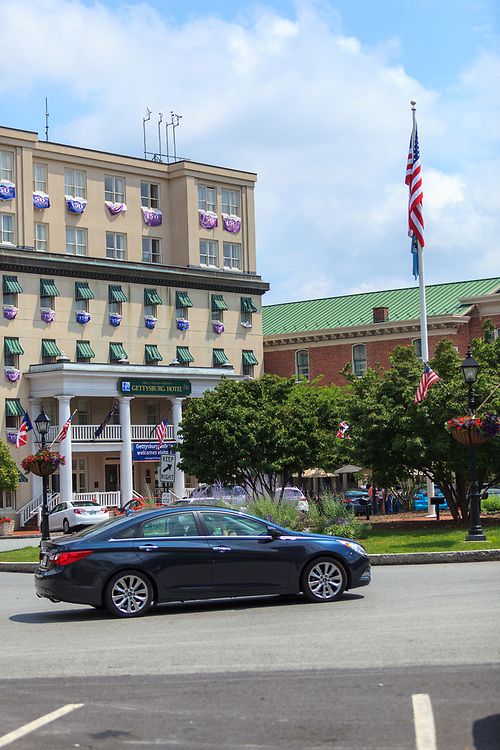 Gettysburg, PA, USA - June 30, 2013:  The Hotel Gettysburg building is located in Lincoln Square, located in the center of the downtown area of town.