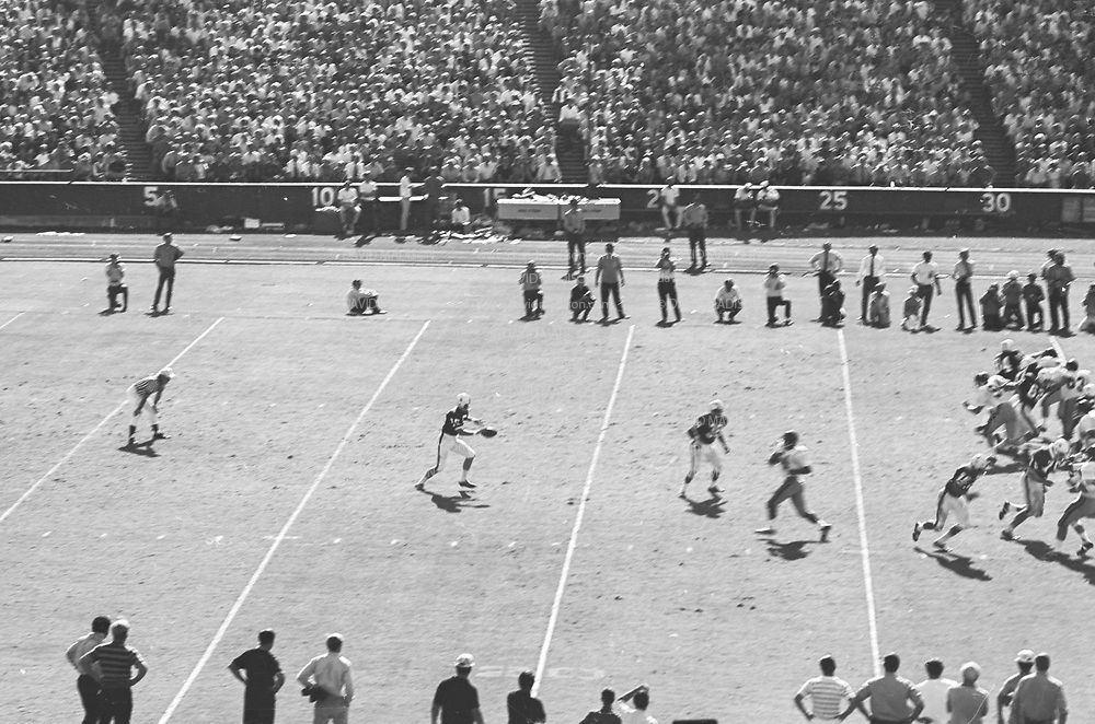 COLLEGE FOOTBALL:  Stanford vs USC (#4 ranking) on October 10, 1970 at Stanford Stadium in Palo Alto, California.  Stanford won by a final score of 24-14.  Visible players include punter Steve Murray #25, Hillary Shockley #38.  Photograph by David Madison / www.davidmadison.com.  R0067