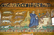 Medieval Byzantine style mosaics of the story of Adam & Eve,  the Palatine Chapel, Cappella Palatina, Palermo, Italy .<br /> <br /> If you prefer you can also buy from our ALAMY PHOTO LIBRARY  Collection visit : https://www.alamy.com/portfolio/paul-williams-funkystock/byzantine-art-antiquities.html . Type -    Palatine     - into the LOWER SEARCH WITHIN GALLERY box. Refine search by adding background colour, place, museum etc<br /> <br /> Visit our BYZANTINE MOSAIC PHOTO COLLECTION for more   photos  to download or buy as prints https://funkystock.photoshelter.com/gallery-collection/Roman-Byzantine-Art-Artefacts-Antiquities-Historic-Sites-Pictures-Images-of/C0000lW_87AclrOk