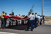 Presenting the flag at the Flag Day Ceremony.