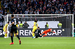 Eintracht Frankfurt's Luka Jovic (centre) scores his side's first goal of the game during the UEFA Europa League Semi final, first leg match at The Frankfurt Stadion, Frankfurt.