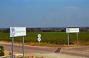 Road signs indicating the vineyards Meursault-Perrieres and Meursault-Charmes, Bourgogne