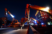 NANCHANG, CHINA - AUGUST 26: <br /><br />Aerial view of excavators demolishing the Yonghemen Overfly on August 26, 2016 in Nanchang, Jiangxi Province of China. Nearly 100 excavators started to demolish the 24-year-old Yonghemen Overfly together on Friday night in Nanchang. <br />©Exclusivepix media