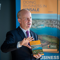 REPRO FREE<br /> Minister Jim Daly TD launching the hugely popular 'Doing Business in Kinsale 2019/20' guide at the Old Head Golf Links by Minister Jim Daly TD<br /> Picture. John Allen