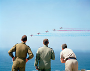 Senior RAF officers assess 'Red Arrows' Britain's Royal Air Force aerobatic team and grant them authority to fly public displays