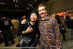 Kazuo Kaz Matsumoto and Sean Lichter at the 27th Annual Mooneyes Yokohama Hot Rod Custom Show 2018. Yokohama, Japan. Saturday, December 1, 2018. Photography ©2018 Michael Lichter.