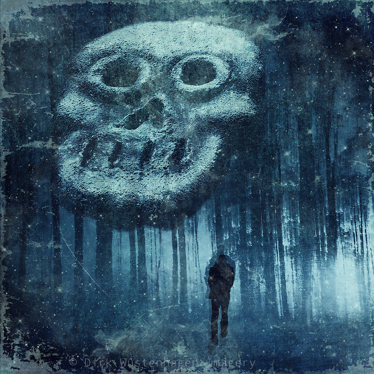Composite image of a skull and a walker - photomanipulation