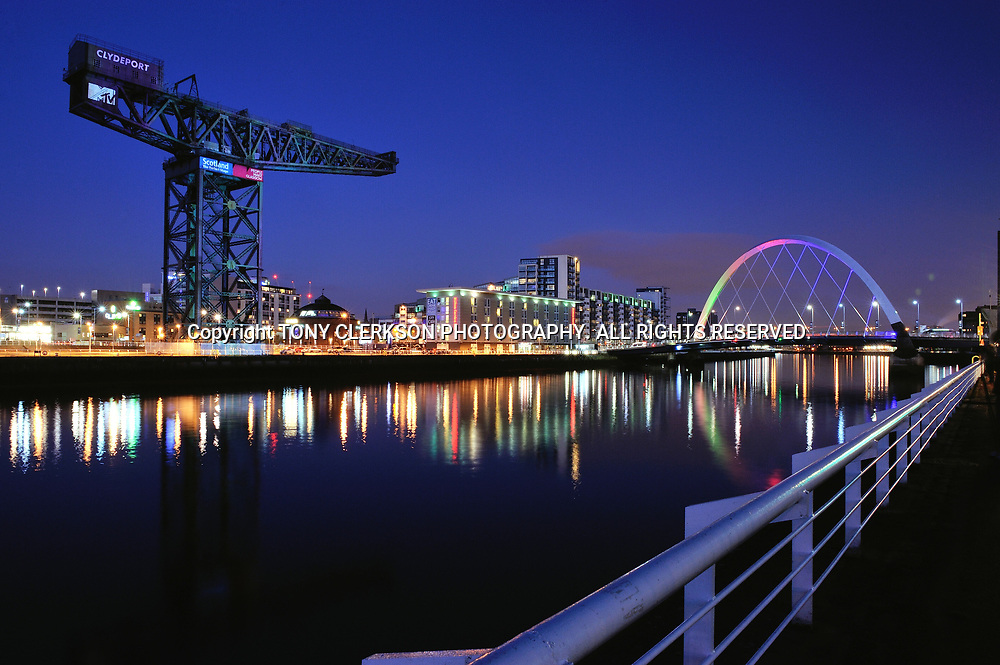 Finnieston Crane and Squinty Bridge, Glasgow, illuminated at night