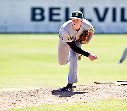 Keegan Lazazrus of the Bothasig Knights pitching during their Major league game against the Bellville Tygers held at the Tygers' home ground at the PP Smit stadium in Bellville on 23 October 2016. Photo by John Tee/RealTime Images.