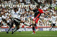 Photo: Rich Eaton.<br /> <br /> Derby County v Southampton. Coca Cola Championship.<br /> <br /> 06/08/2006. Derbys Marc Edworthy left, blocks a shot  from Southamptons Gregorz Rasiak