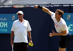 Great Britain's Andy Murray with coach Ivan Lendl during a practice session ahead of day two of the 2017 AEGON Championships at The Queen's Club, London.